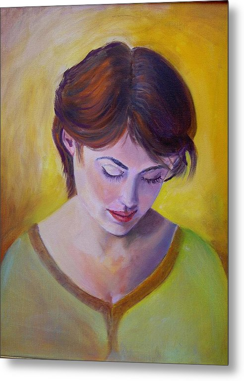 A Classic Portraiture Of A Beautiful Woman Metal Print featuring the painting Pensive by George Markiewicz