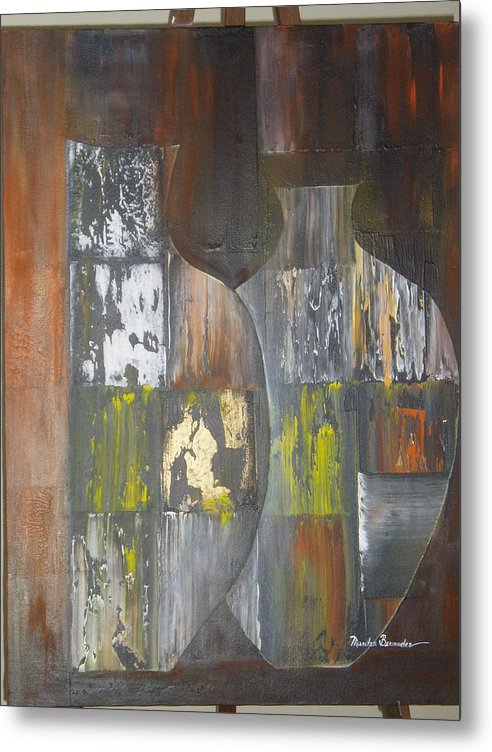 Vases Metal Print featuring the painting Two Vases by Maritza Bermudez