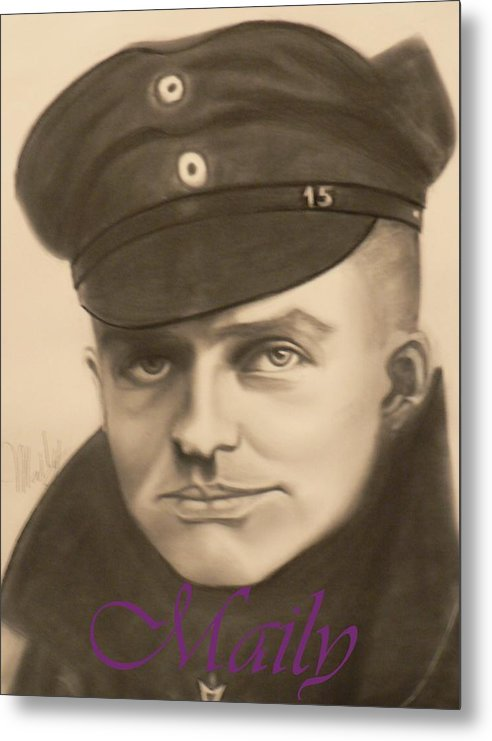 Manfred Richthophen Wwi Metal Print featuring the painting Red Baron by Maily