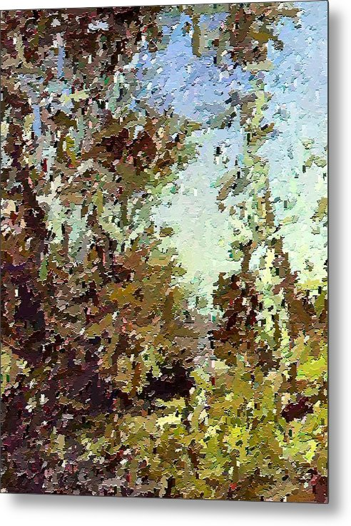 Abstract Metal Print featuring the painting Trees In The Back Yard by Don Phillips