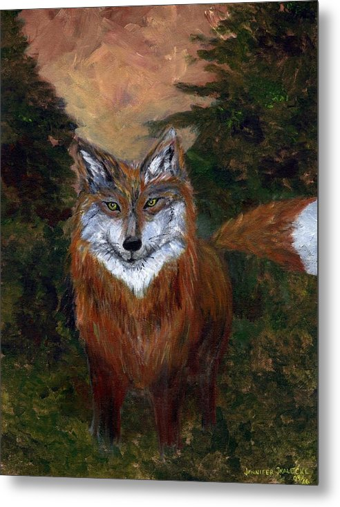 Foxes Metal Print featuring the painting Red Fox - Www.jennifer-d-art.com by Jennifer Skalecke