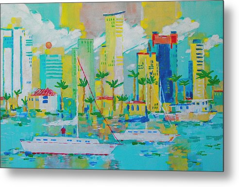 Water Metal Print featuring the painting Bay View by Art Mantia