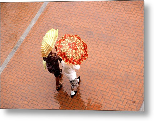 Rain Metal Print featuring the photograph Chatting In The Rain - Umbrellas Series 1 by Carlos Alvim