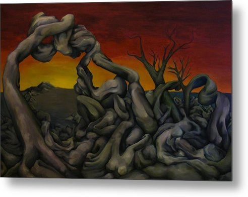 Figurative Metal Print featuring the painting Reverence And The Revelator by Kate Papa