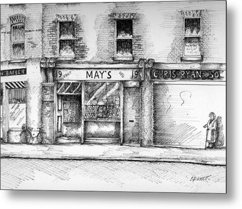 Dublin Streetscape Metal Print featuring the painting Mays Shop North King Street Dublin 7 by Brendan Lynch