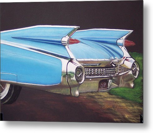 American Classic Car Metal Print featuring the pastel 1959 Cadillac by Sharon Quarles