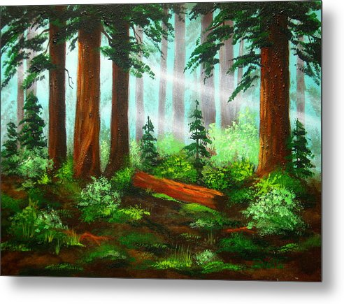 Landscape Metal Print featuring the painting Oregon Woods by Shasta Eone