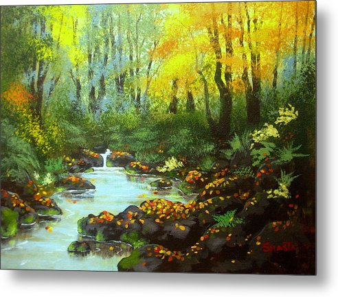 Landscape Metal Print featuring the painting Quiet Time And Place by Shasta Eone