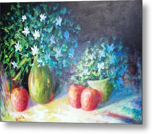 Floral Metal Print featuring the print Three Apples by Carl Lucia