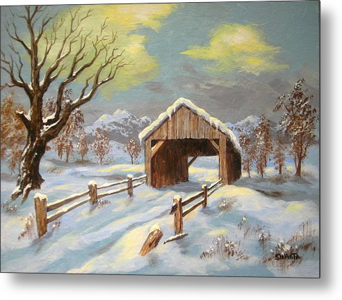 Landscape Metal Print featuring the painting Closed Road by Shasta Eone
