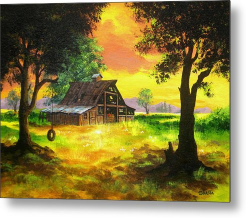 Landscape Metal Print featuring the painting Remember When by Shasta Eone