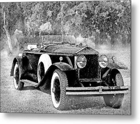 Cars Metal Print featuring the mixed media Ghostly '29 Phantom Rolls by Jorge Gaete