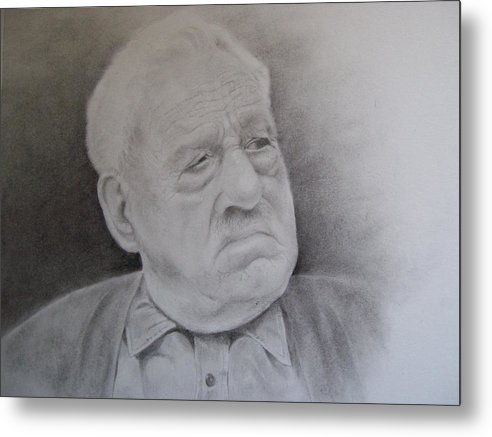 Portrait Metal Print featuring the drawing Papa Schupp by George Valdez