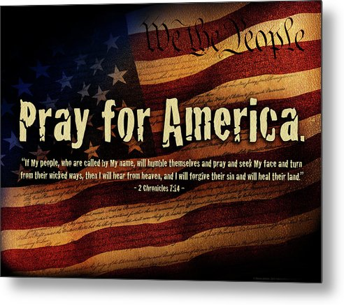America Metal Print featuring the mixed media Pray For America by Shevon Johnson