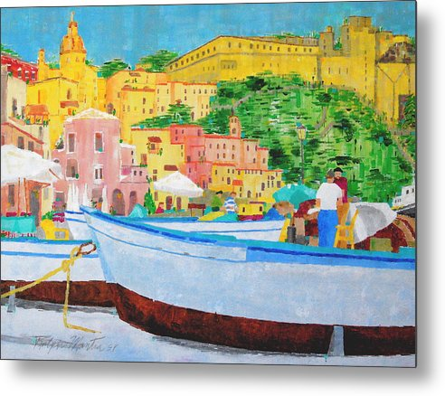 Boats Metal Print featuring the painting Procida by Art Mantia