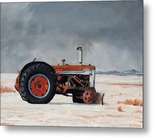 Tractor Metal Print featuring the painting Rusted Sentinel by Greg Clibon