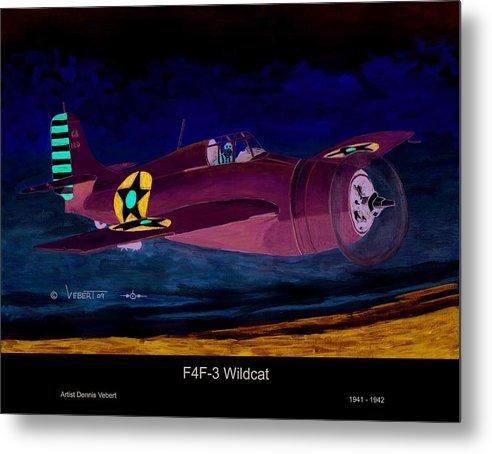 Wildcat Airplane Metal Print featuring the painting Wildcat by Dennis Vebert