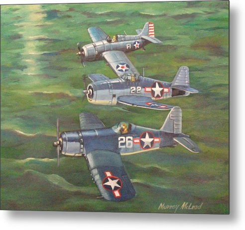 Naval Aviation Art Metal Print featuring the painting Partners In Fame 2 by Murray McLeod