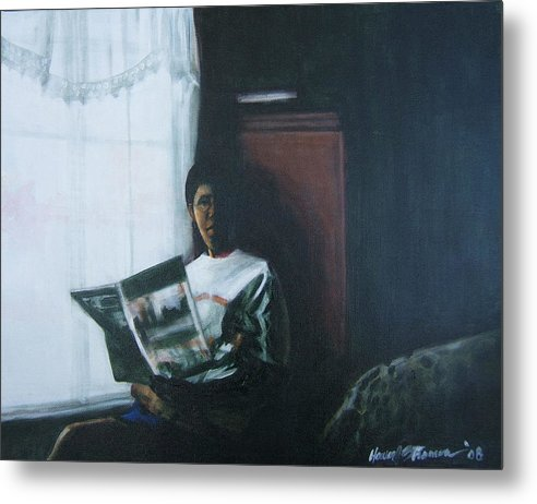 Portrait Metal Print featuring the painting The Guest Room by Howard Stroman