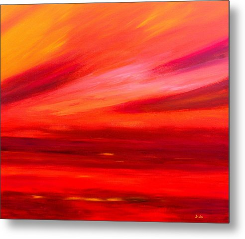 Caribbean Metal Print featuring the painting Tequila Sunrise by Sula Chance