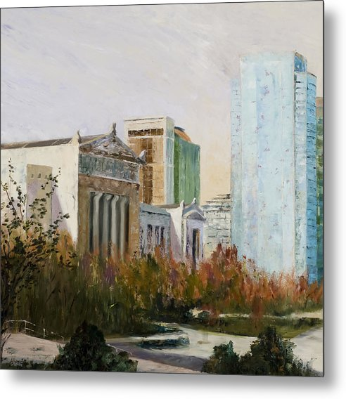 Landscape Metal Print featuring the painting Chicago Museum Campus From The Steps Of The Shedd by Nancy Albrecht