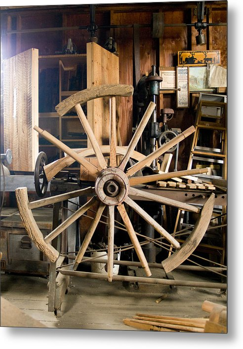 Decor Metal Print featuring the photograph The Wheelwright's Shop by Ron Kizer