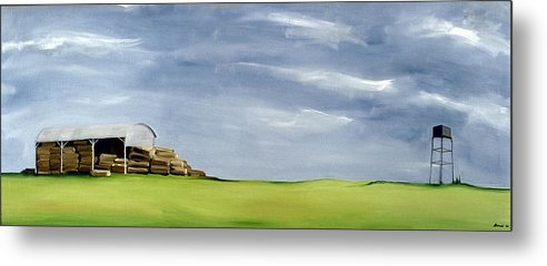 Agriculture & Rural Scenes Metal Print featuring the painting Haybarn Dreaming by Ana Bianchi
