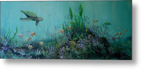Turtle Metal Print featuring the painting Endangered Green by Ana Bikic