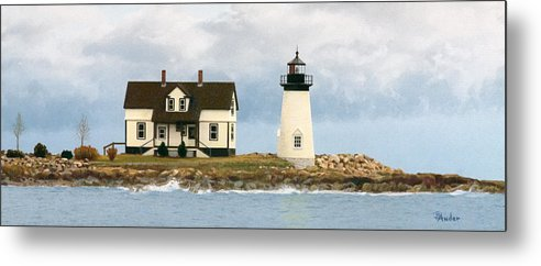 Lighthouse Metal Print featuring the drawing Foggy Guardian by Brent Ander