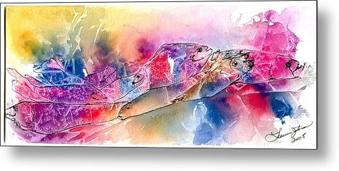 Fish Metal Print featuring the painting A Rainbow Of Salmon by Laura Johnson