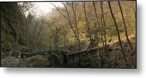 Landscape Trees Trail Bridge Forest Panoramic China Metal Print featuring the photograph Ancient Mountain Trail by Ty Lee