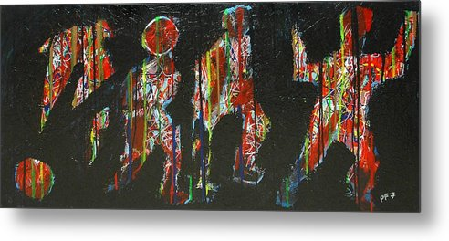 Abstract Metal Print featuring the painting The Finish Line by Paul Freidin