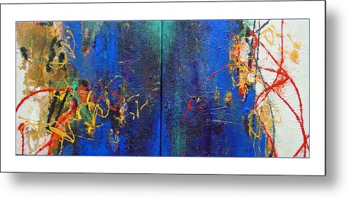Abstract Metal Print featuring the painting Duo by Dale Witherow
