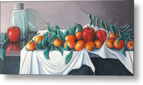 Still Life Metal Print featuring the painting Tangerines And Apples by Eileen Kasprick