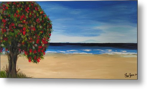 Coastal Landscape Tree New Zealand Pohutukawa Summer Days Waves Blue Ocean Pacific Metal Print featuring the painting Beachside by Sher Green
