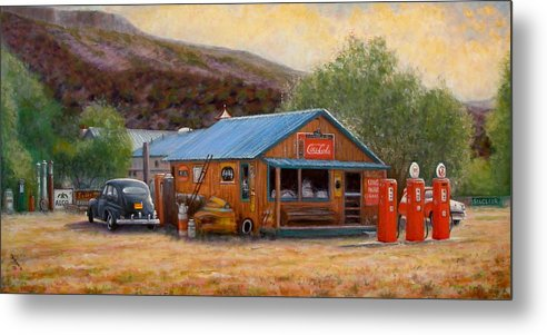 Realism Metal Print featuring the painting Below Taos 3 by Donelli DiMaria