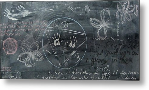 Chalkboard Metal Print featuring the drawing Blackboard Science And Art II by Stephen Hawks