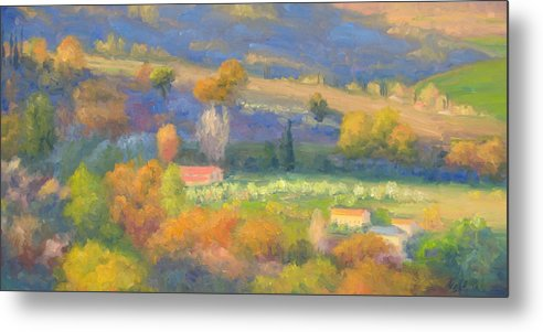 Tuscany Metal Print featuring the painting Lengthening Shadows - Tuscany by Bunny Oliver