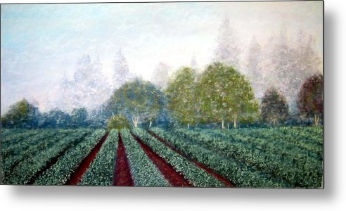 Landscape Metal Print featuring the painting Misty Blue by Carl Capps