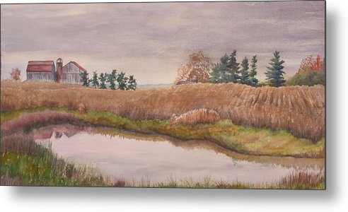 Farm Metal Print featuring the painting Pond Magic by Debbie Homewood