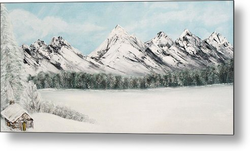 Alaskan Landscape Metal Print featuring the painting Solitude by Ofelia Uz