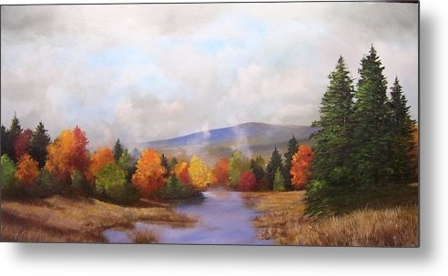 Fall Metal Print featuring the painting Fall Pond Scene by Ken Ahlering