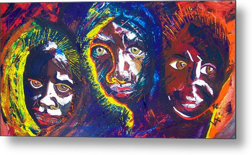 Darfur Metal Print featuring the painting Darfur - Eyes Of The Future by Valerie Wolf