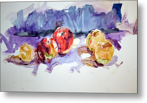 Still Life Metal Print featuring the painting Apples by Roger Parnow