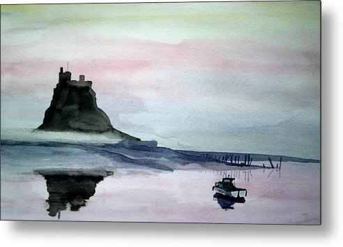 Lindisfarne. Holy Island. Seascape. Castle. Uk.northumberland. England Metal Print featuring the painting Dawn Over Lindisfarne. by John Cox