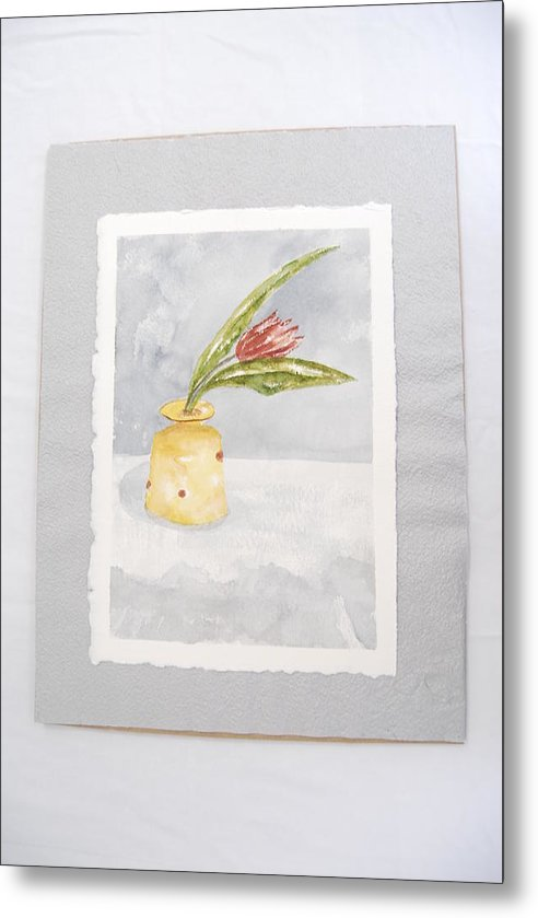 Tulip In Yellow Vase Metal Print featuring the painting Springtime by Marti Kuehn