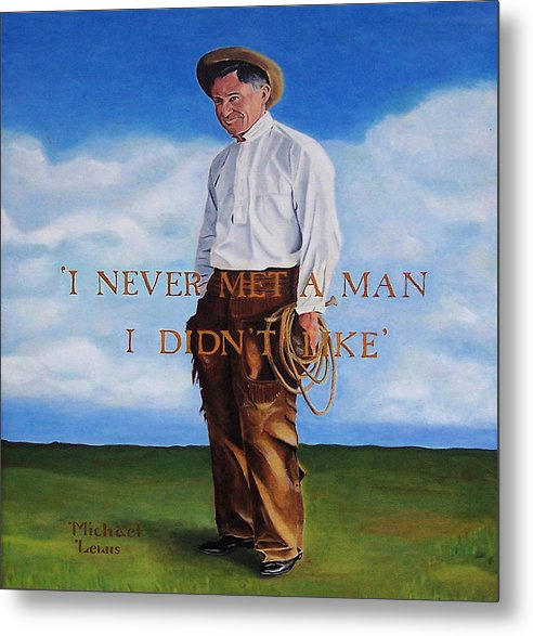 Oil Metal Print featuring the painting Will Rogers by Michael Lewis