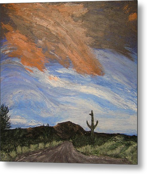 Landscape Metal Print featuring the painting The Lonely Road by Ricklene Wren