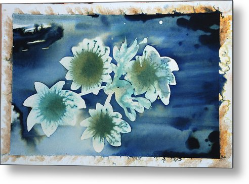 Blue Flowers Ink Dreamy Dream Blossom Metal Print featuring the painting The Hopes And Dreams Of A Blossom On A Lake by Amy Bernays