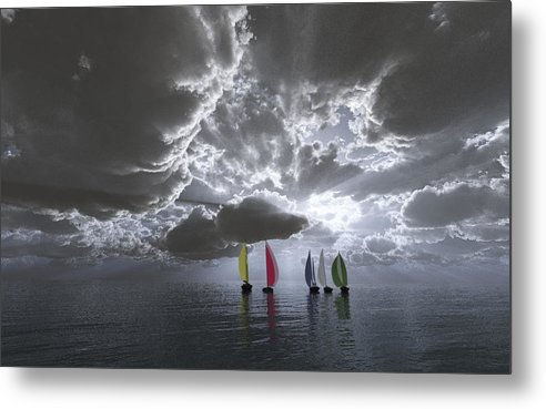 Clouds Metal Print featuring the digital art Sailing by Margaret Wingstedt
